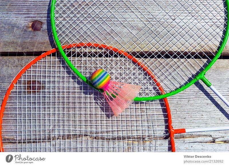Badminton Schläger und Bälle Design Freude Freizeit & Hobby Spielen Sommer Entertainment Sport Hand Kunst Mode Holz Fitness retro schwarz Konkurrenz Hintergrund