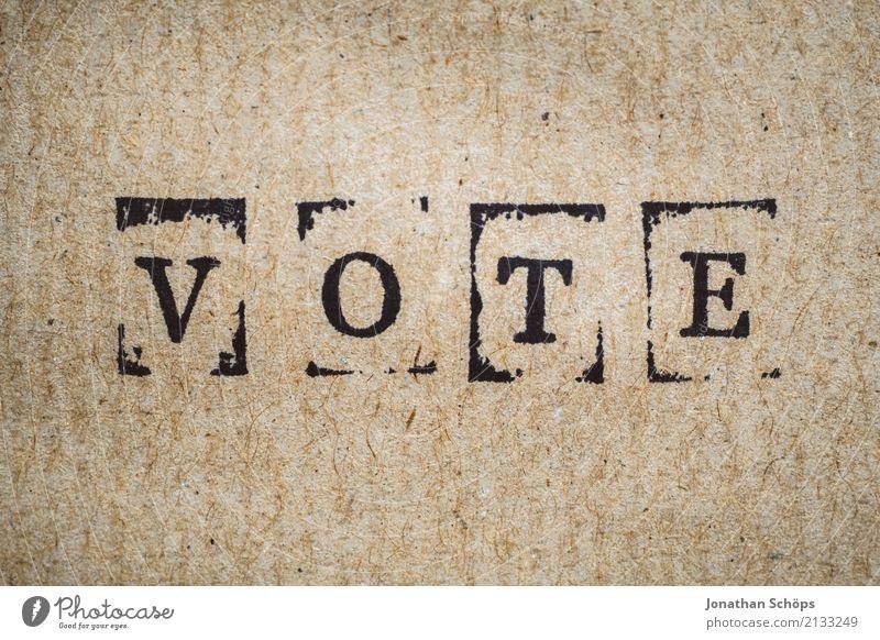 Vote Holz Schriftzeichen nah Typographie wählen Gesetze und Verordnungen Text Stempel Wahlen Entscheidung Entschlossenheit demokratisch Demokratie Parlament