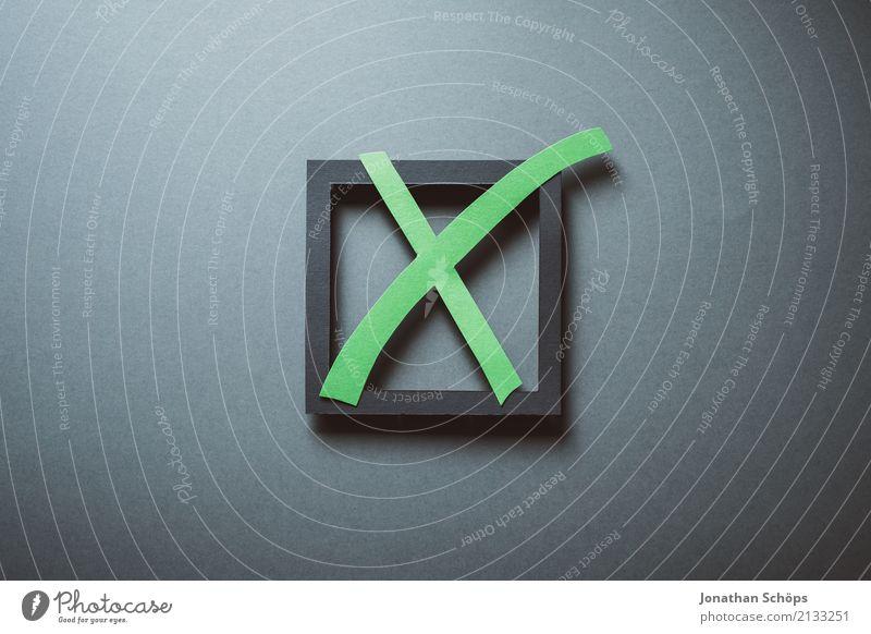 Wahlkreuz in grün zur Bundestagswahl 2021 Entschlossenheit wählen Wahlen Entscheidung unentschlossen Symbole & Metaphern Parteien wichtig entschieden Parlament