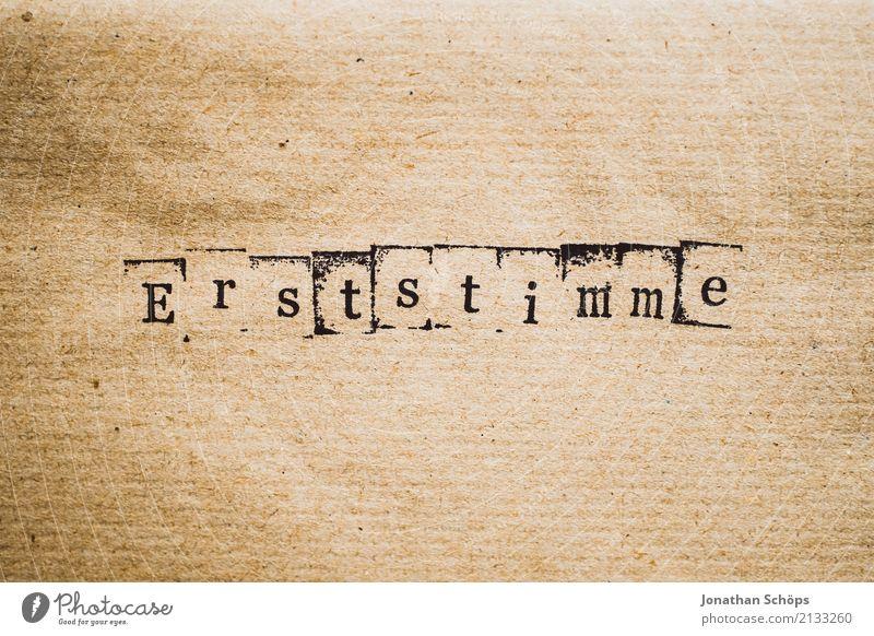 Erststimme Entschlossenheit Text wählen Wahlen Entscheidung unentschlossen Typographie Schriftzeichen Holz Stempel Parteien wichtig entschieden Parlament