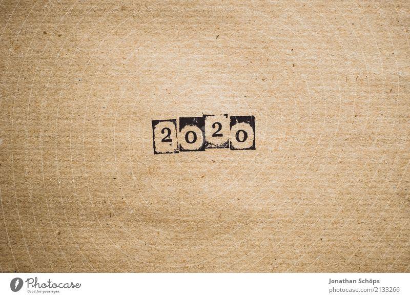 2020 Hintergrundbild braun Zukunft Papier einfach Ziffern & Zahlen Ziel neu Zukunftsangst Kalender Typographie Silvester u. Neujahr Jahreszahl Text Stempel