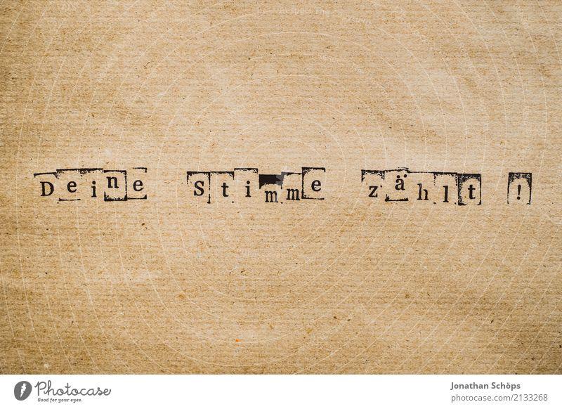 Deine Stimme zählt Entschlossenheit Text wählen Wahlen Entscheidung unentschlossen Typographie Schriftzeichen Holz Stempel Parteien wichtig entschieden