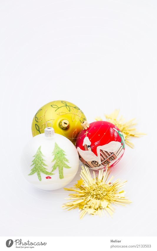 Drei Christbaumkugeln mit goldenen Sternen Design Freude Feste & Feiern Weihnachten & Advent Glas Ornament Kugel glänzend rund grün rot weiß Vorfreude