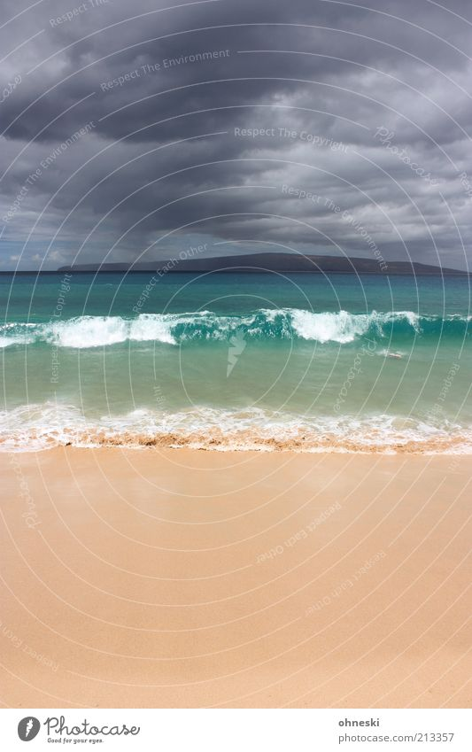 Sonne und Regen Wasser Himmel Meer grün Strand Ferien & Urlaub & Reisen Wolken Ferne Luft Küste Wellen Insel Tourismus Sehnsucht genießen Urelemente