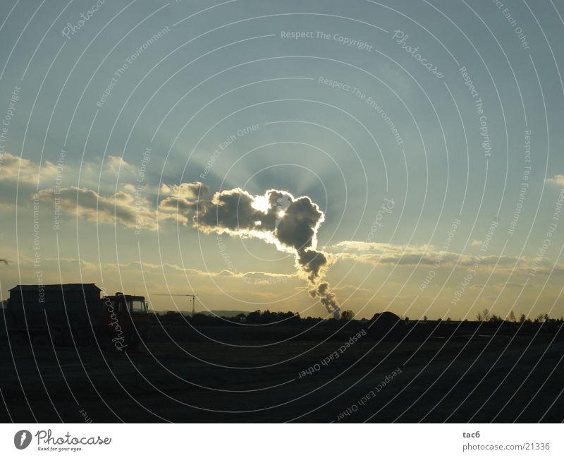 Sonne hinter Kühlwasserwolken Himmel Wolken Landschaft Beleuchtung Kernkraftwerk