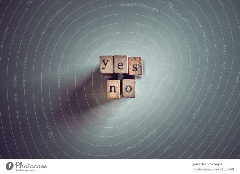 yes no Holz Schriftzeichen Typographie Gesetze und Verordnungen wählen Text Englisch Stempel Entscheidung Ablehnung Wahlen Entschlossenheit Regierung