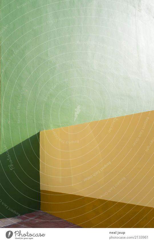 Color blocking grün gelb Wand Mauer Design ästhetisch Ordnung minimalistisch