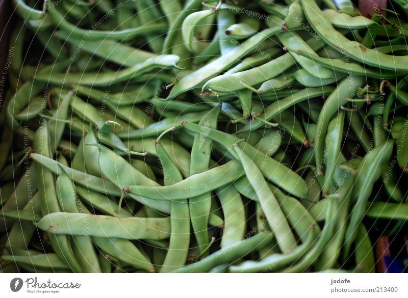 Bohnen grün Gesundheit Lebensmittel frisch mehrere Gemüse viele Markt durcheinander pflanzlich Vegetarische Ernährung
