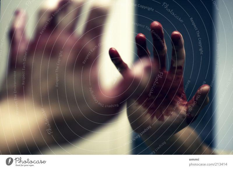 noch alle 5 finger Haut Hand Finger Spiegel authentisch gruselig rot Schmerz Angst Verzweiflung verstört Ende Blut blutverschmiert Spiegelbild Farbfoto