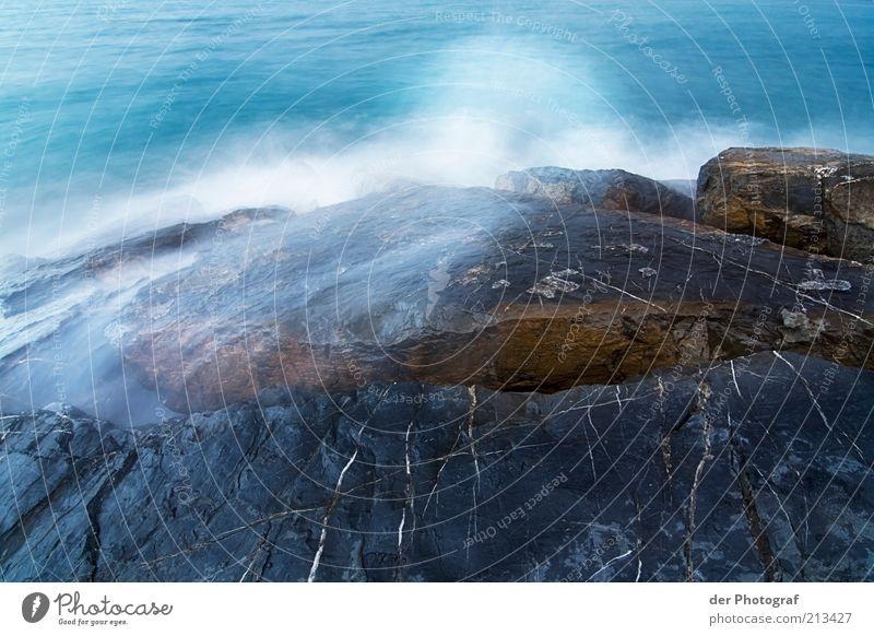 Schäumende Gischt Wasser Wind Wellen Küste Meer kalt nass Felsen Farbfoto Außenaufnahme Textfreiraum unten Langzeitbelichtung Stein Felsküste Menschenleer