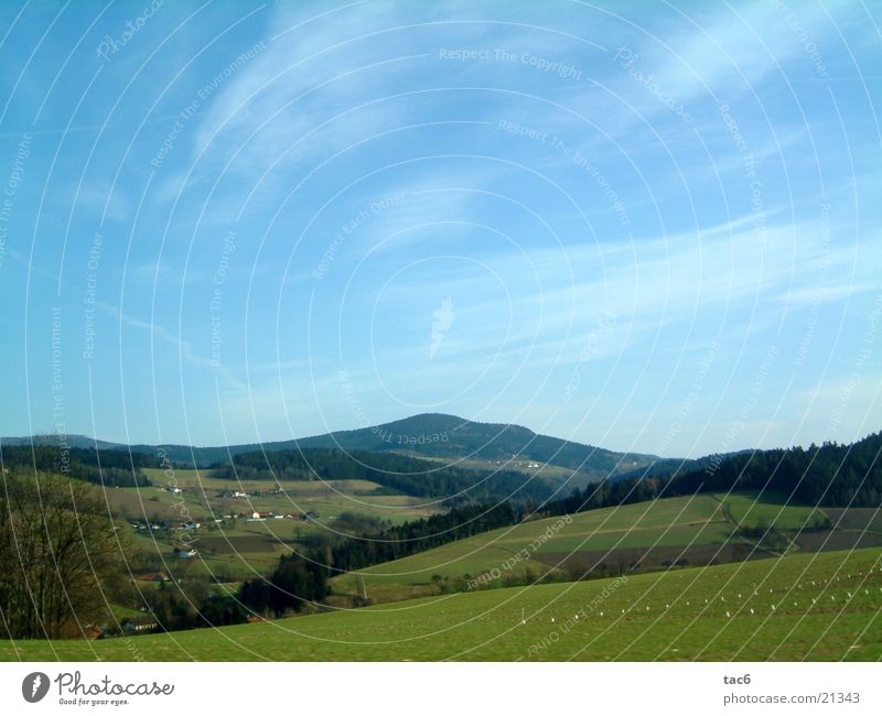Bergland grün Wolken Wald Baum Dorf Haus Berge u. Gebirge Landschaft Blauer Himmel