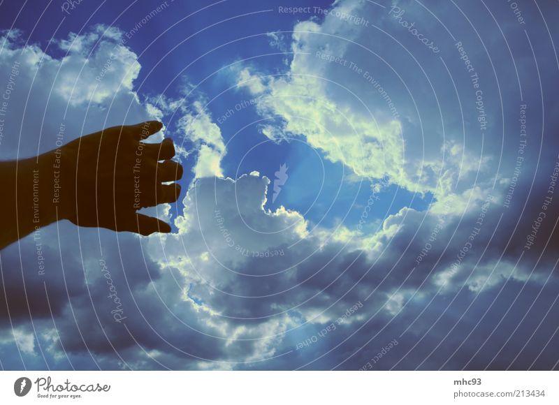 oh sonne, bleib doch! Natur Hand schön Himmel Wolken Ferne Farbe Luft Stimmung Umwelt Hoffnung Sehnsucht Urelemente Kontrast Wolkenhimmel
