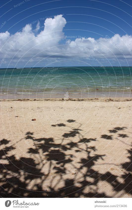 Schattiges Plätzchen Ferien & Urlaub & Reisen Tourismus Sommerurlaub Urelemente Luft Wasser Himmel Wolken Schönes Wetter Wellen Küste Strand Meer Zufriedenheit