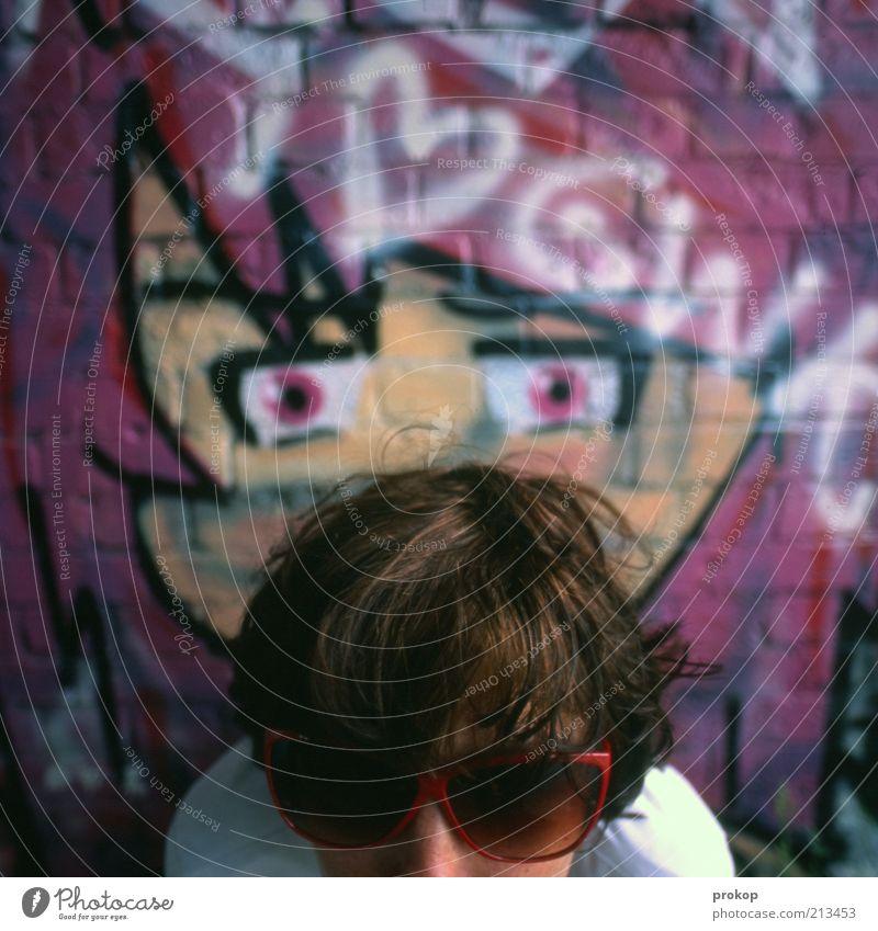 Schalk im Nacken Frau Mensch Jugendliche schön Erwachsene Gesicht feminin dunkel Graffiti Haare & Frisuren Stil verrückt authentisch Lifestyle Coolness