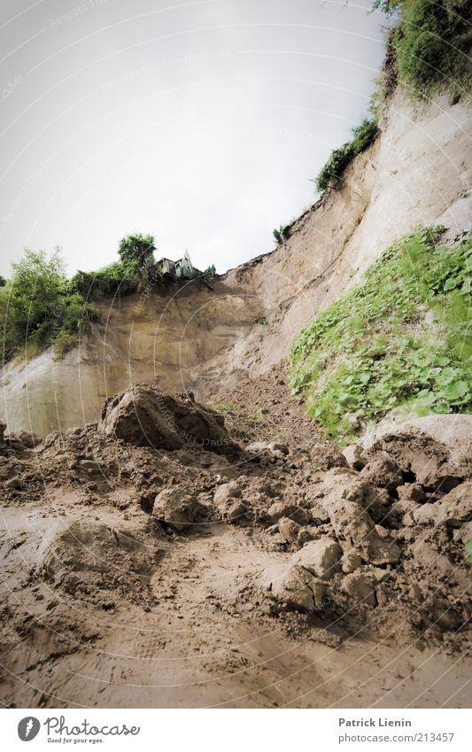 Abrutsch Natur Pflanze Gras Sand Landschaft dreckig Wetter Umwelt Felsen Erde neu gefährlich kaputt Wandel & Veränderung Klima Wachsamkeit