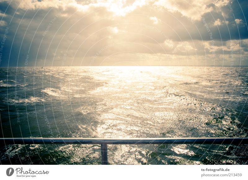Nordsee ist Leuchtsee II Natur Wasser Himmel Sonne Meer blau Ferien & Urlaub & Reisen Wolken Ferne gelb Wellen Wind Wetter Horizont Tourismus Urelemente