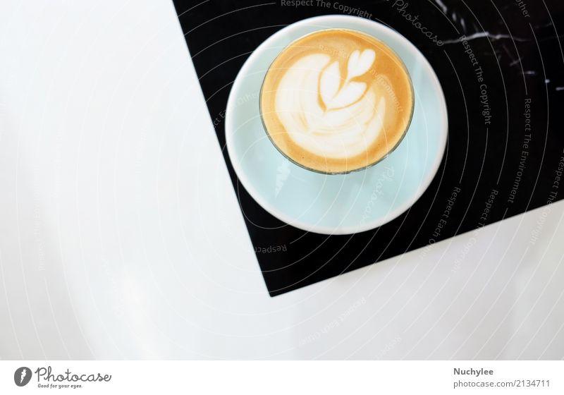 Heißer Cappuccino oder Milchkaffee Frühstück Getränk Kakao Kaffee Espresso Teller Design Tisch Kunst Stein heiß braun schwarz weiß Latte Lebensmittel macchiato