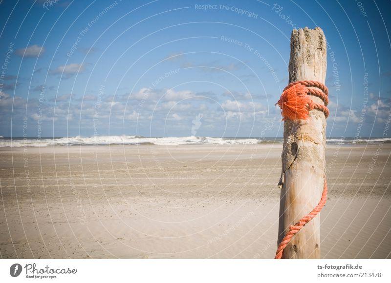 Hollandtag auf Norderney II Natur Wasser Himmel Sonne Meer Sommer Strand Ferien & Urlaub & Reisen Wolken Holz Sand orange Küste Wellen Umwelt Seil