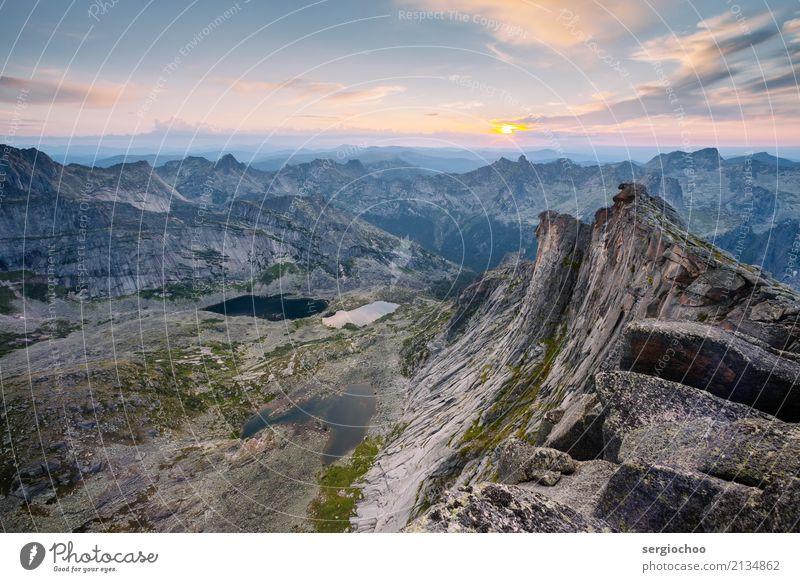 den Sonnenuntergang auf der Spitze eines Berges zu treffen Landschaft Hügel Felsen Alpen Berge u. Gebirge Gipfel See einzigartig Ferien & Urlaub & Reisen