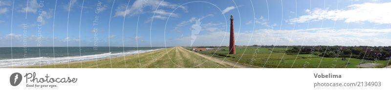 Leuchtturm von Den Helder Umwelt Natur Landschaft Wasser Himmel Wolken Sommer Küste Nordsee Meer Niederlande Europa Menschenleer Sehenswürdigkeit Wahrzeichen
