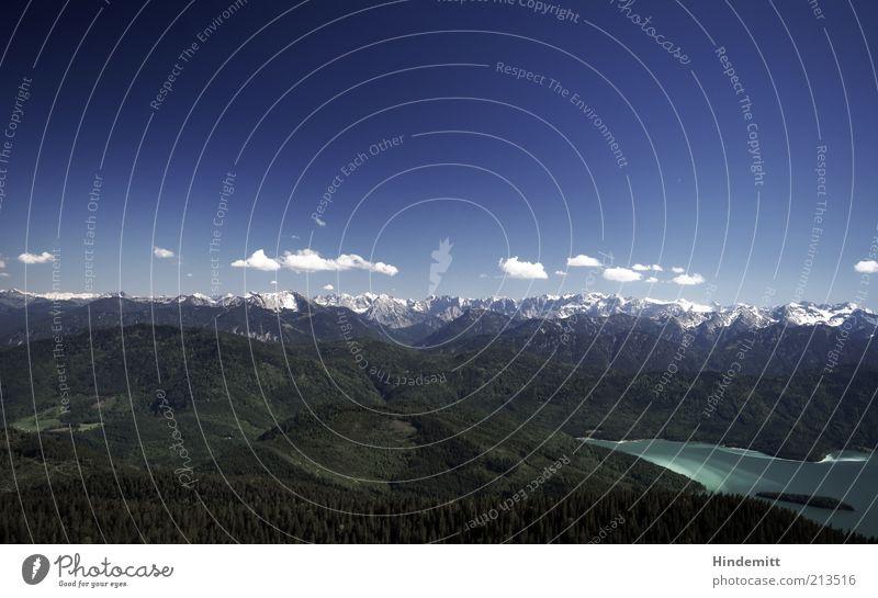Walchensehen Natur schön Himmel weiß grün blau Sommer Wolken Ferne Erholung oben Berge u. Gebirge See Landschaft Kraft Umwelt