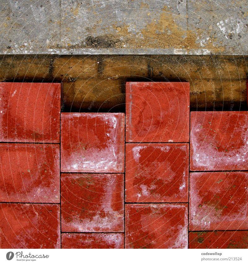 radfahrer absteigen rot Wege & Pfade grau Sand Stein braun Arbeit & Erwerbstätigkeit Boden planen neu Fußweg Straßenbelag Fuge Pflastersteine Reparatur Präzision