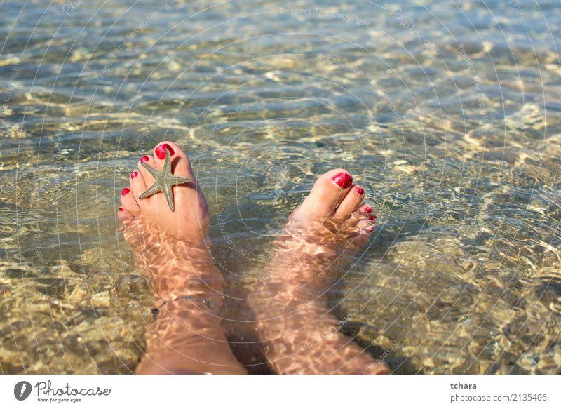 Entspannen Sie Sich Design exotisch schön Nagellack Erholung Sommer Strand Meer Dekoration & Verzierung Tapete Frau Erwachsene Fuß Natur Sand natürlich blau