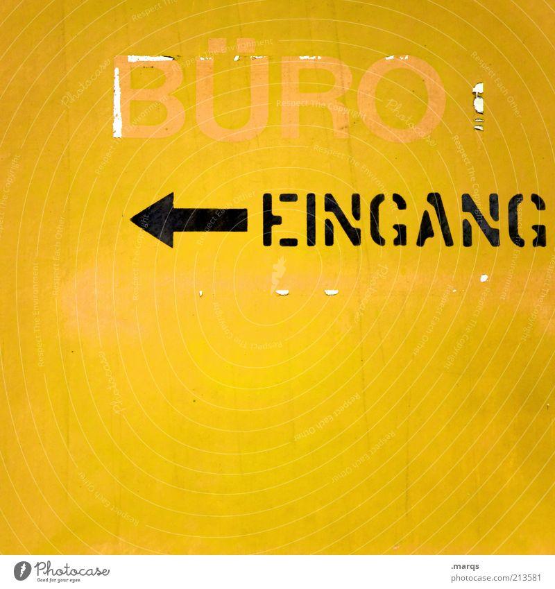 Büro, Büro alt schwarz gelb Farbe Arbeit & Erwerbstätigkeit Beginn Schriftzeichen Buchstaben einfach Symbole & Metaphern Pfeil Zeichen Eingang Unternehmen
