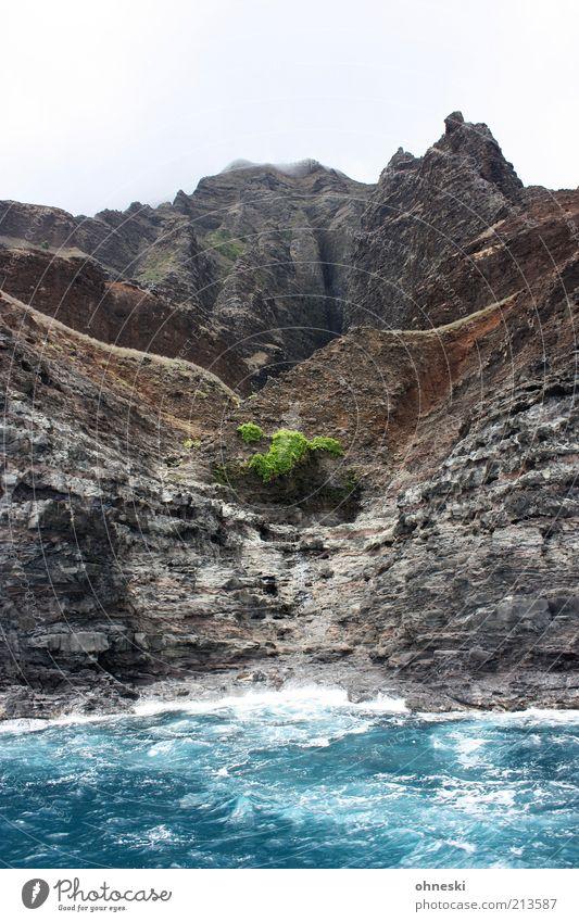 Na Pali Coast Landschaft Urelemente Erde Wasser Himmel Felsen Wellen Küste Bucht Meer Pazifik Insel Kauai wild Kraft ursprünglich Felsküste Farbfoto