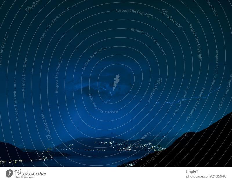 filigran Umwelt Natur Landschaft Luft Wasser Klima Wetter schlechtes Wetter Gewitter Blitze Berge u. Gebirge See leuchten blau braun grau schwarz weiß