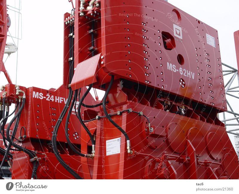 Bau-Technik Stahl massiv rot Maschine Schraube Schlauch Elektrisches Gerät Technik & Technologie hydraulisch Baustelle Anbauteil Nahaufnahme