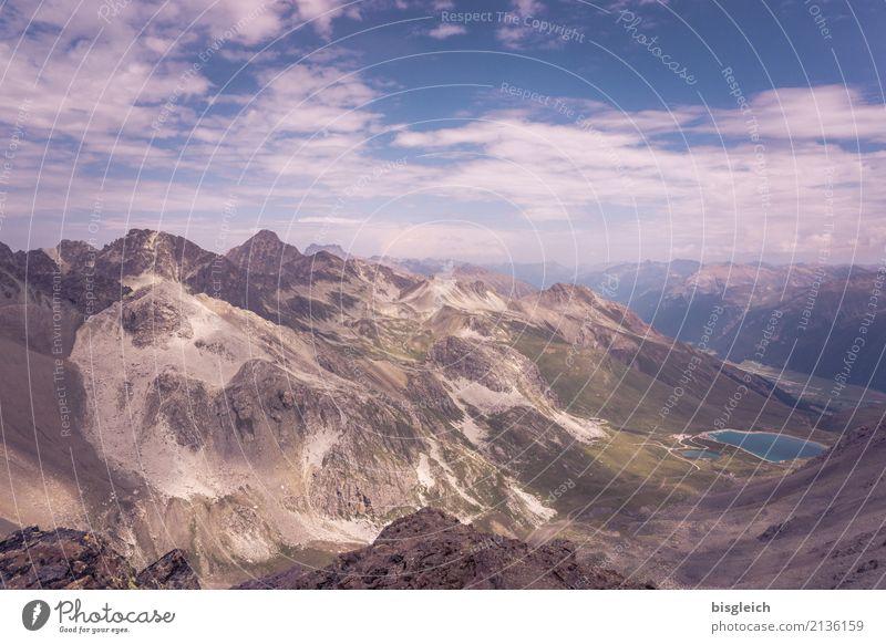 Alpenpanorama Natur blau grün Landschaft Ferne Berge u. Gebirge Umwelt See braun Horizont wandern Gipfel Klettern Bergsteigen