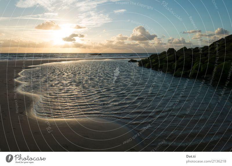 aquitaine Natur Landschaft Wasser Himmel Wolken Horizont Sonne Sonnenaufgang Sonnenuntergang Sonnenlicht Küste Strand Meer Frankreich blau Idylle