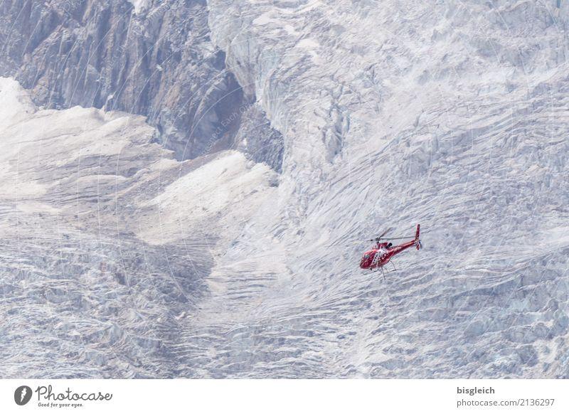 Helikopter weiß rot Berge u. Gebirge kalt grau fliegen Europa Hilfsbereitschaft Hoffnung Alpen Mut Schweiz Gletscher Tapferkeit Hubschrauber Zermatt