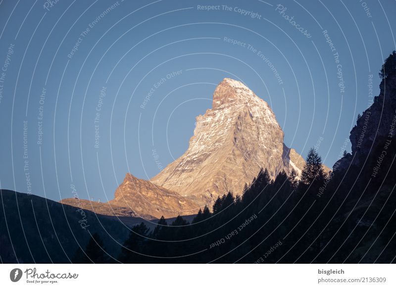 Matterhorn IV Bergsteigen Klettern wandern Umwelt Natur Landschaft Schönes Wetter Alpen Berge u. Gebirge Gipfel Zermatt Schweiz Europa blau gold Willensstärke