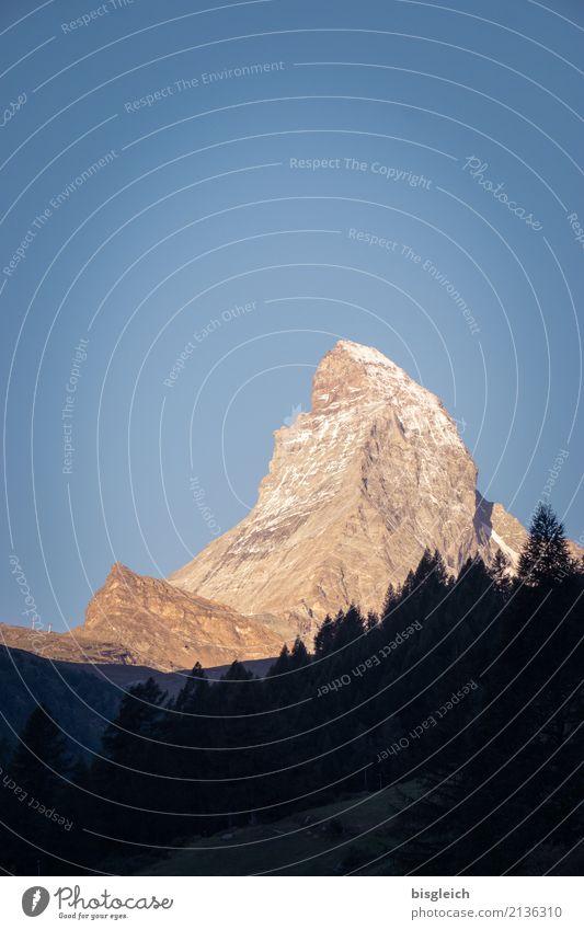 Matterhorn V Natur blau Landschaft Berge u. Gebirge Umwelt wandern gold Kraft Europa Schönes Wetter Gipfel Alpen Klettern Wolkenloser Himmel Mut Schweiz