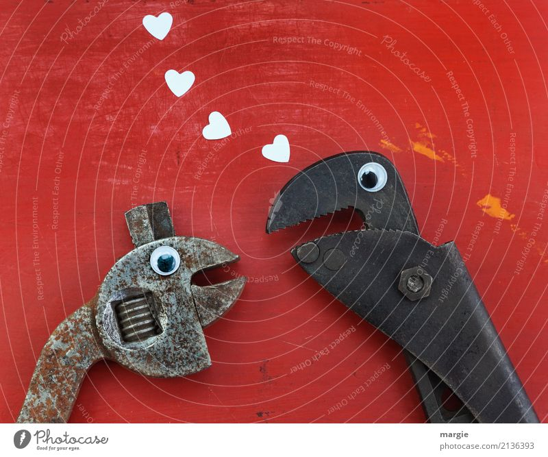Bitte sag Ja! Zwei Zangen mit Augen und Herzen Arbeit & Erwerbstätigkeit Handwerker Arbeitsplatz Baustelle sprechen Werkzeug Schere Tier Tiergesicht 2 braun rot