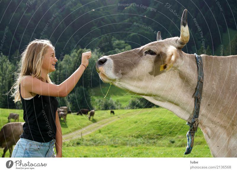 Cowgirl Matilda 2 Mensch Kind Natur Jugendliche Landschaft Tier Freude Mädchen Umwelt Freundschaft blond Kindheit Kommunizieren Alpen Landwirtschaft 8-13 Jahre