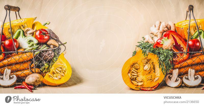 Kürbis und Gemüse für gesundes Kochen und Essen Gesunde Ernährung Winter Foodfotografie Leben gelb Herbst Gesundheit Hintergrundbild Stil Lebensmittel Design