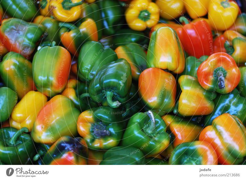 Paprika grün rot gelb glänzend Lebensmittel mehrere Gemüse viele chaotisch pflanzlich Paprika mehrfarbig Kontrast Vegetarische Ernährung gemischt Marktstand