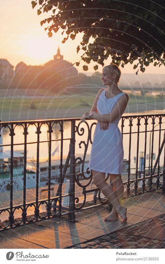 #A# Großstadtromantik Kunst Kunstwerk ästhetisch Frau Dresden Elbufer Dampfschiff Romantik Idylle friedlich Morgen Skyline Sonne Sonnenstrahlen Geländer