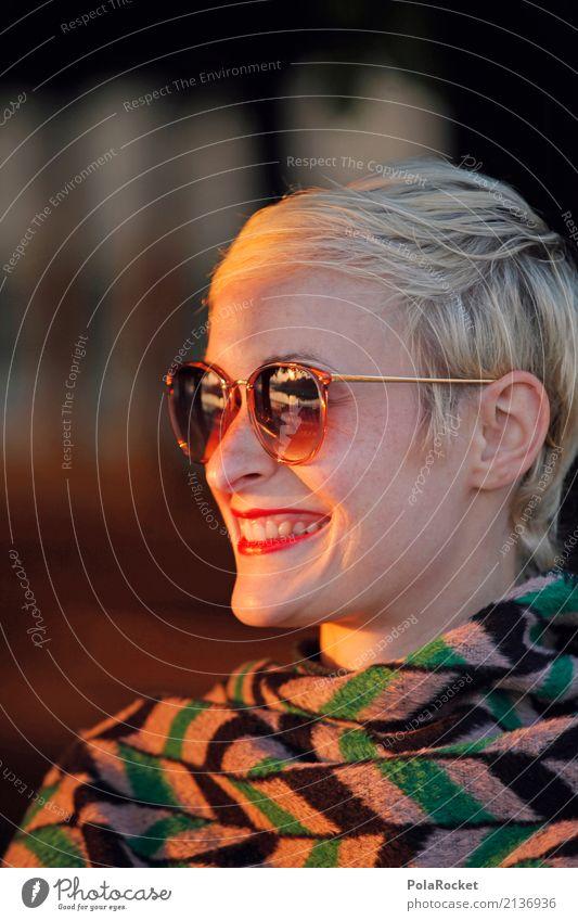 #A# Golden Face Mensch Frau Sonne Gesicht lachen Mode ästhetisch Lächeln Freundlichkeit Model Sonnenbrille Lichtspiel Frauengesicht