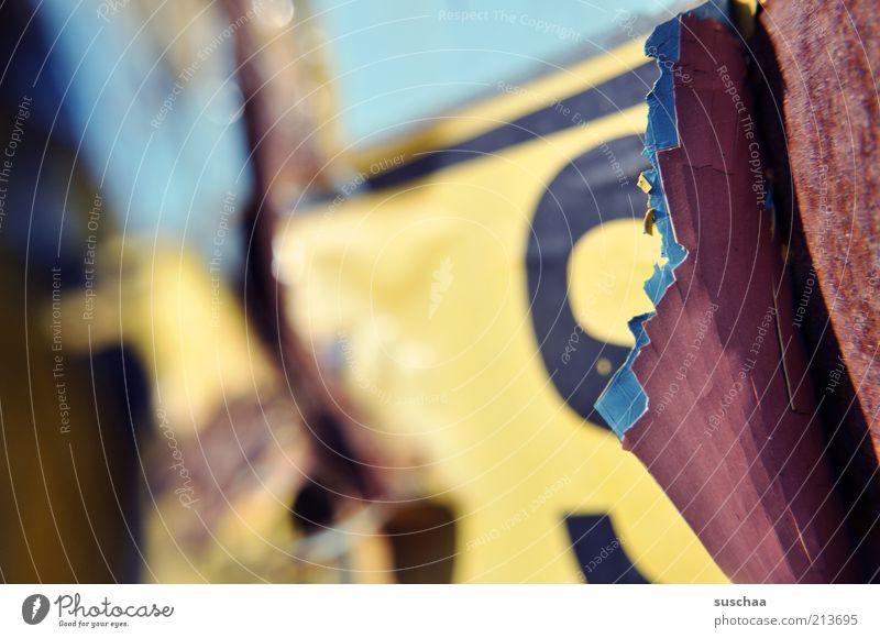 vernachlässigt .. Container eckig kaputt blau gelb Verfall Vergänglichkeit Schilder & Markierungen Schriftzeichen Rost unbrauchbar Farbfoto mehrfarbig