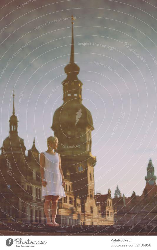 #A# Dresdner Rathaus Kunst ästhetisch Reflexion & Spiegelung Dresden Barock Kleid Altstadt Turm Wasseroberfläche Frau Mädchen Surrealismus träumen traumhaft