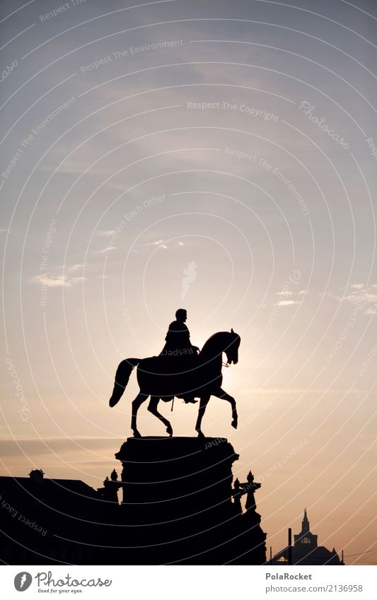 #A# Strahlender Reiter Kunst Kunstwerk ästhetisch Statue Ritter Ritterfalter Ritterstatue Reiterhof Reiterfest Silhouette Dresden Himmel Sonnenaufgang Farbfoto