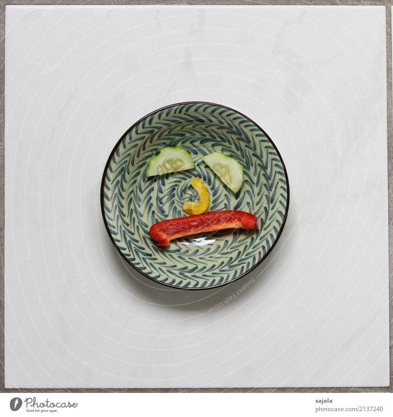 foodface - very sad Lebensmittel Gemüse Gurkenscheibe Paprikastreifen Ernährung Vegetarische Ernährung Fastfood Fingerfood Schalen & Schüsseln androgyn Gesicht