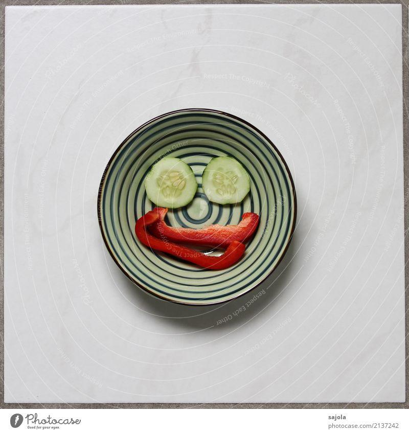 foodface - happy Gesunde Ernährung grün rot Freude Gesicht Foodfotografie Auge Glück Lebensmittel Stimmung Zufriedenheit Lächeln Fröhlichkeit