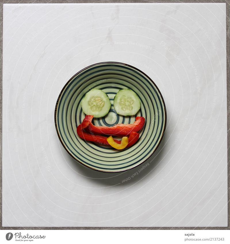 foodface - stuck out tongue Lebensmittel Gemüse Gurkenscheibe Paprikastreifen Ernährung Vegetarische Ernährung Fastfood Fingerfood androgyn Gesicht Auge Mund