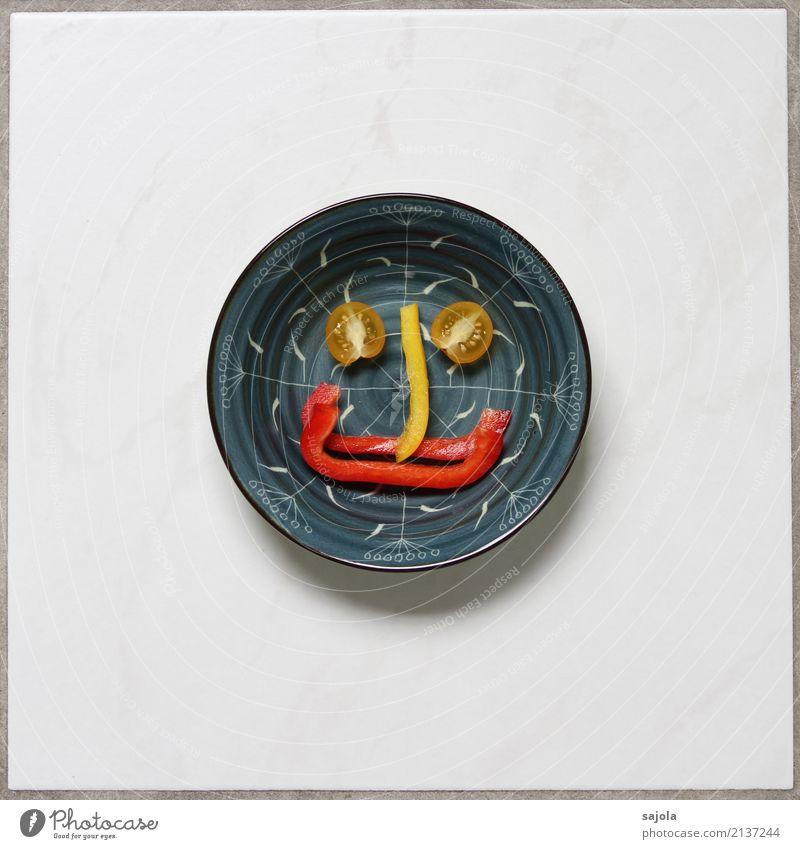 foodface - long nose blau Gesunde Ernährung rot Freude Gesicht Foodfotografie Auge gelb Gefühle Glück Lebensmittel Stimmung Zufriedenheit Lächeln Fröhlichkeit