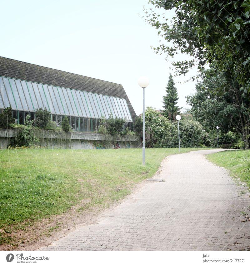 Schulweg Natur Himmel Pflanze Baum Gras Sträucher Park Wiese Kleinstadt Bauwerk Gebäude Architektur Laterne Wege & Pfade trist Farbfoto Außenaufnahme